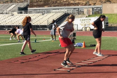 The girls basketball team doing ladders to work on their speed, while maintaining a social distance.