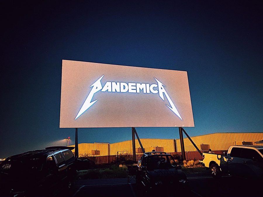 Drive-in concert in Las Vegas on August 29. Creative mix between Pandemic and Metallica's infamous logo.