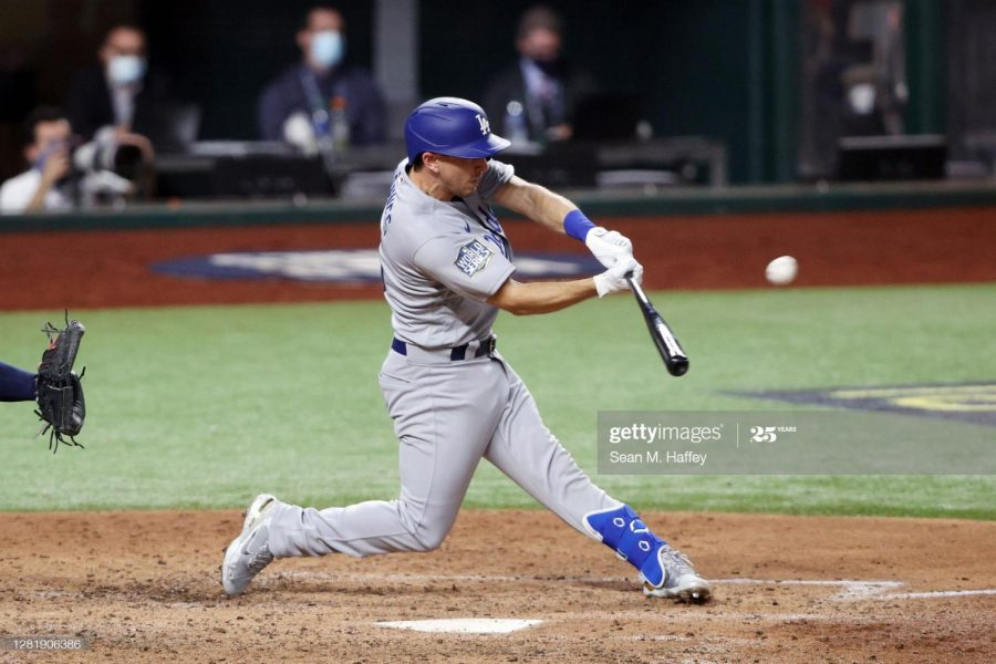 Austin Barnes hitting a home run against the Tampa Bay Rays.