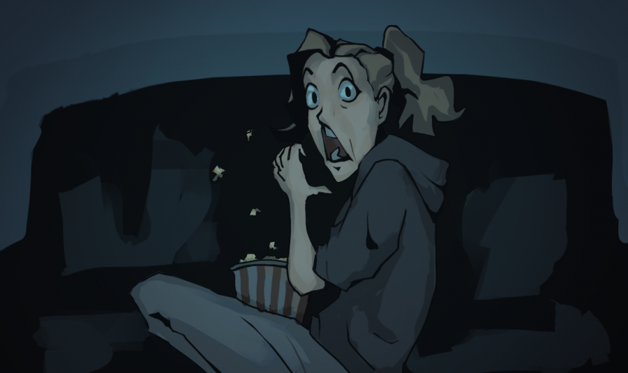 Graphic depicts a girl eating popcorn and gasping at a scary scene.