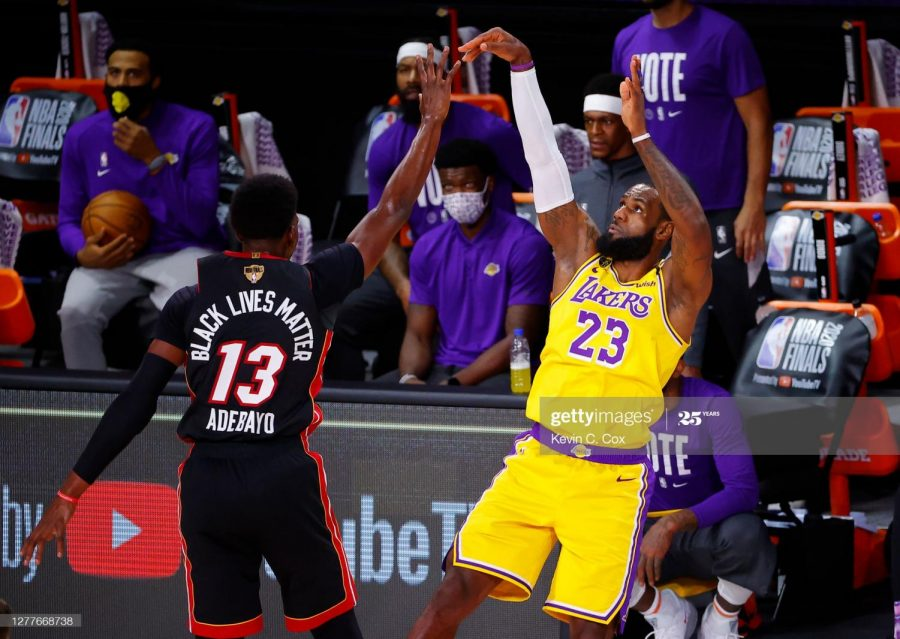 Lebron James hitting a shot against Bam Adebayo in the 2020 NBA Finals.