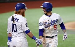 Justin Turner sharing a moment with Mookie Betts during the World Series.
