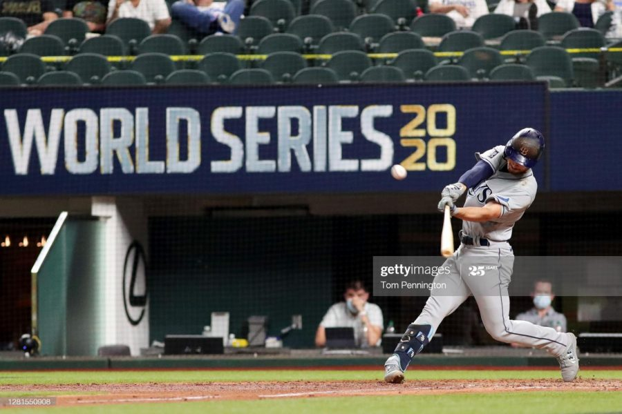 Brandon Lowe hitting a two run home run during game two of the World Series.