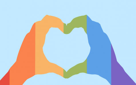 Two hands forming a heart with a rainbow overlay. Around 300,000 same-sex couples have gotten married since its legalization.