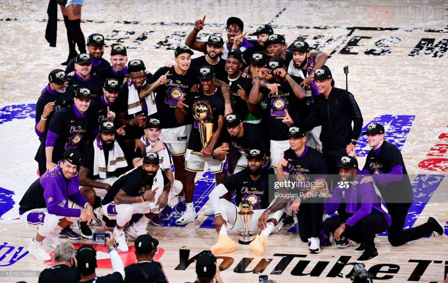 The Los Angeles Lakers taking a team picture after winning Game 6 of the NBA Finals and their 17th franchise championship.