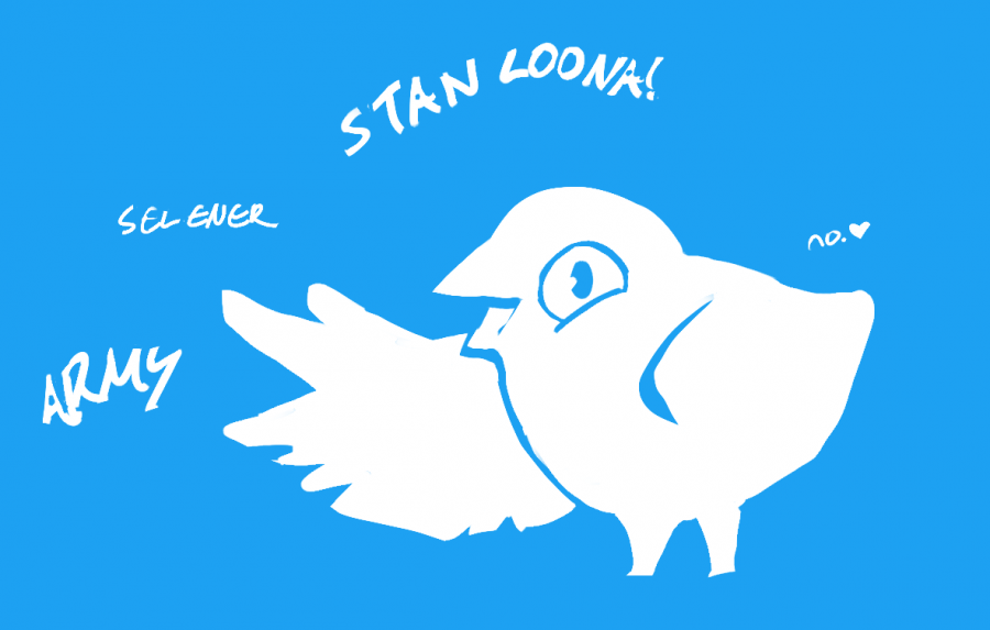 Image depicts a cartoon version of the Twitter bird exclaiming multiple stan slang terms.