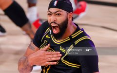 Anthony Davis #3 of the Los Angeles Lakers celebrates after shooting a three point basket to win the game over Denver Nuggets in Game Two of the Western Conference Finals