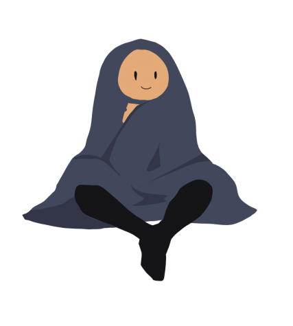 Image depicts a person wrapped in a weighted blanket.