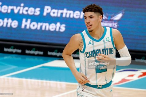 LaMelo Ball #2 of the Charlotte Hornets looks on during the first half.