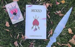 Promotional pictures of Cameron Moutons first poetry book Mixed. These pictures can be found on her Instagram @wheatbreadcam