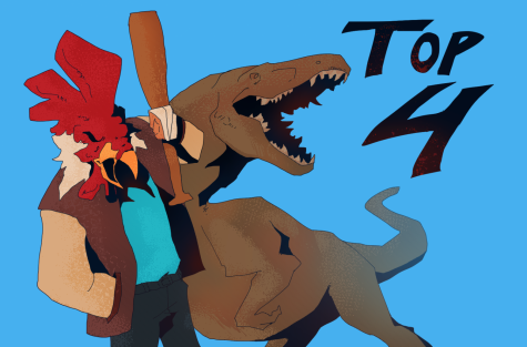"Graphic depicts Jacket from ""Hotline Miami"" and a Tyrannosaurus Rex from ""The Isle."""