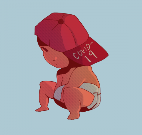 "Image depicts a baby wearing a baseball cap that says ""COVID-19."""