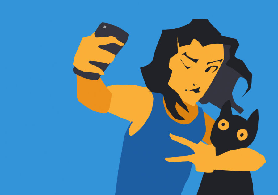 Graphic of a girl taking a selfie with her cat.