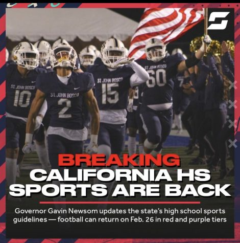 Breaking: Football can return in California as early as Feb.26th after Governor Gavin Newsom eases return-to-play guidelines in the state.
