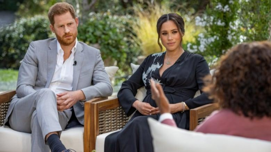 Prince Harry and Meghan, Duchess of Sussex, are interviewed by Oprah Winfrey in an interview broadcast Sunday night.