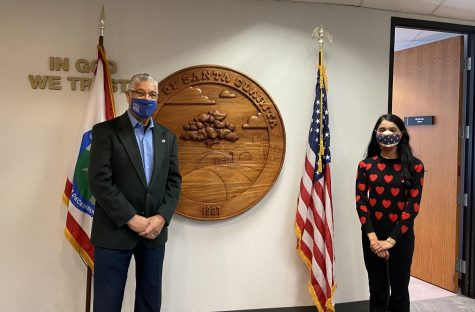 Meeting the Mayor with social distancing and masks.