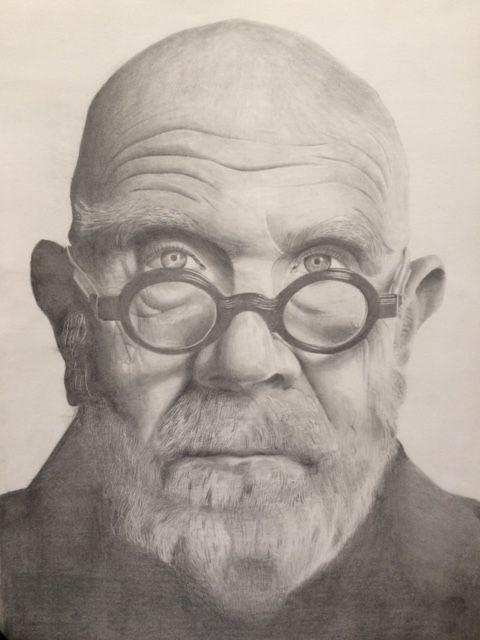 Freshman Art 1B student, Kevin Torres' pencil drawing replica of a Chuck Close photograph.