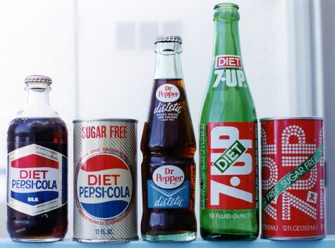 The Diet Pepsi bottle and can are from the late 1960