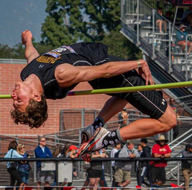 Austin Hernandez clearing 6'6 in high jump his junior year.