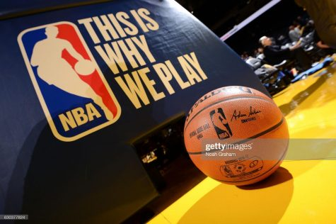 View of the game ball and This is Why We Play logo before the game between the Golden State Warriors and the Houston Rockets