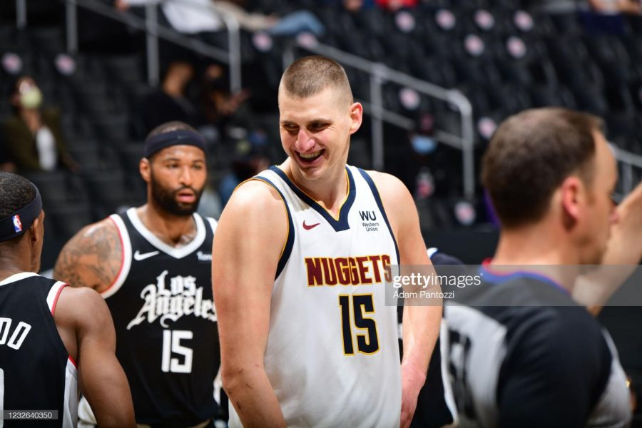 Nikola Jokic #15 of the Denver Nuggets smiles during the game against the LA Clippers