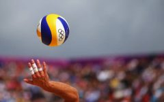 The ball is served during the Mens Beach Volleyball Round of 16 match between Switzerland and Poland.