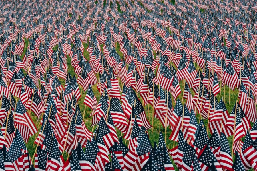 Flags were placed to represent the lives lost on 9/11.