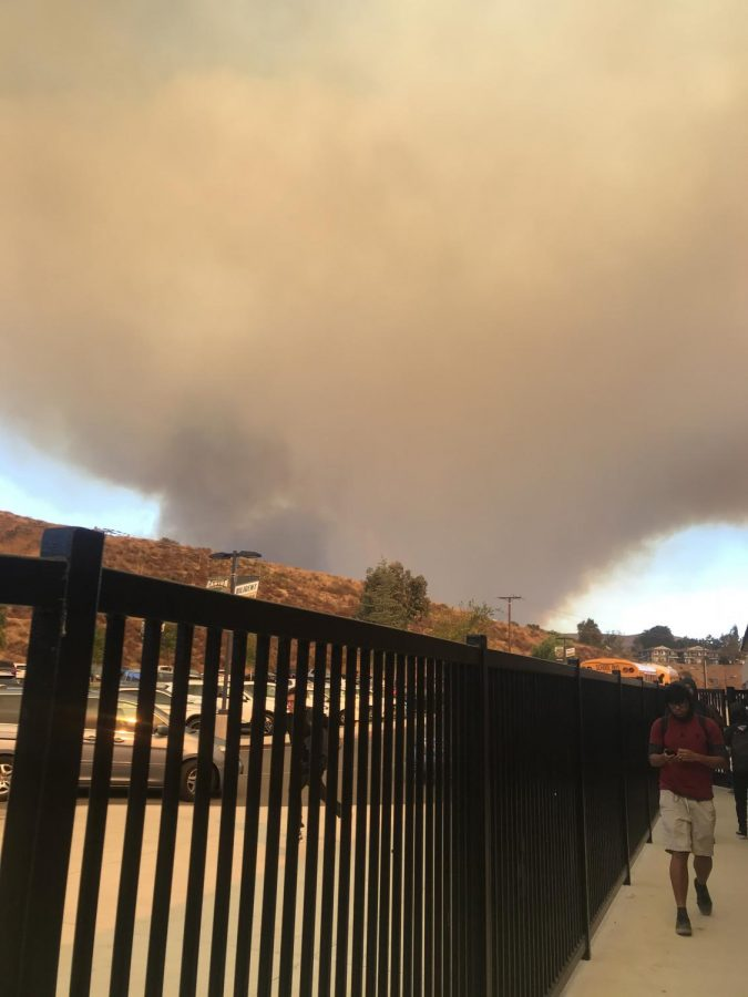 View of the Tick Fire of 2019 from Canyon High School.