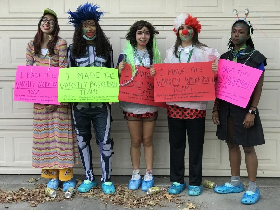 The Girls Varsity Basketball  newcomers: Arianna Rodriguez (10), Aaliyah Peart (10),  Aneesa Sayan (10), Lisa Ascencio (11), and Kenedi Jones (12).