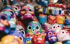 Colorful Skulls for sale in Mexico City during Dia de los Muertos.