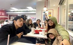 A group of seniors enjoying In-N-Out after a fun time at the game!