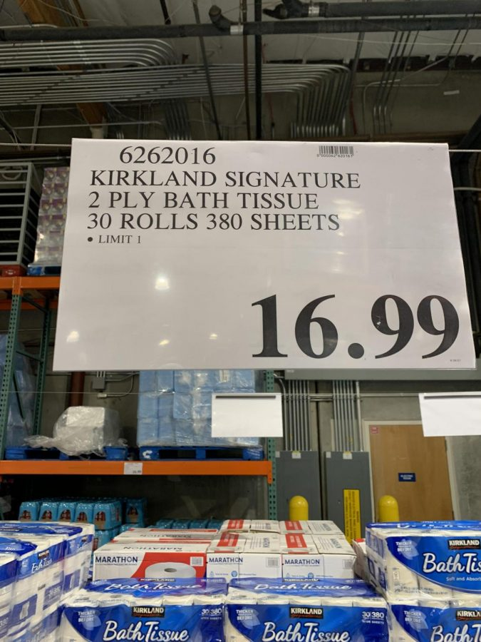 Costco stores limit toilet paper to one package per person.